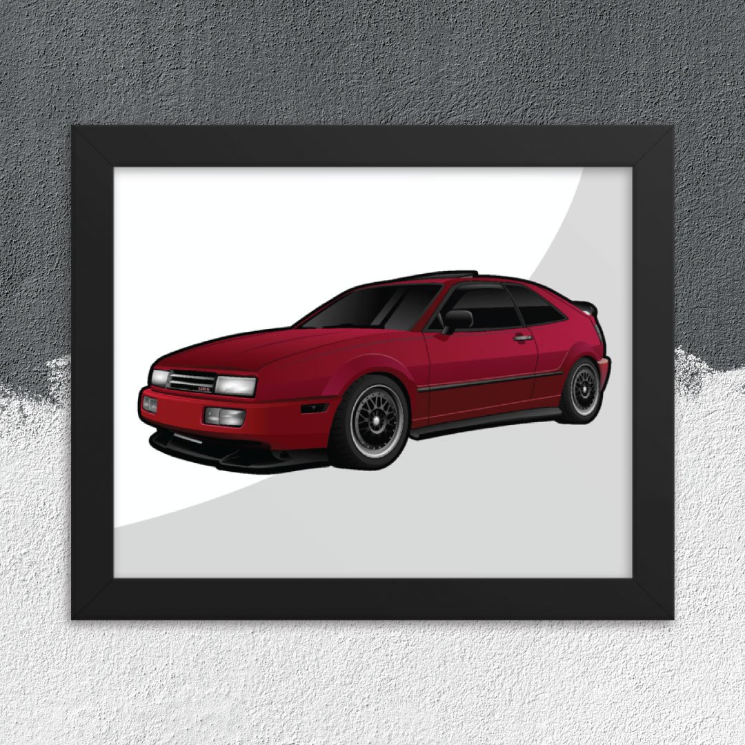 Custom Digital Drawing Print of Volkswagen Corrado