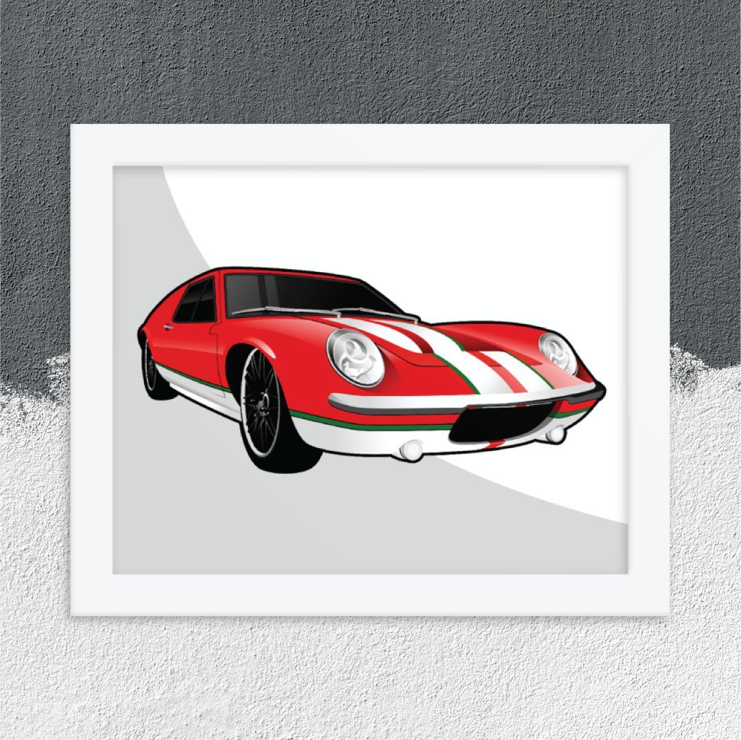 Custom Digital Drawing Print of Red and White Sportscar
