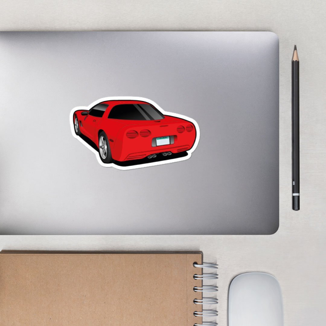 Custom Digital Drawing Sticker of Corvette