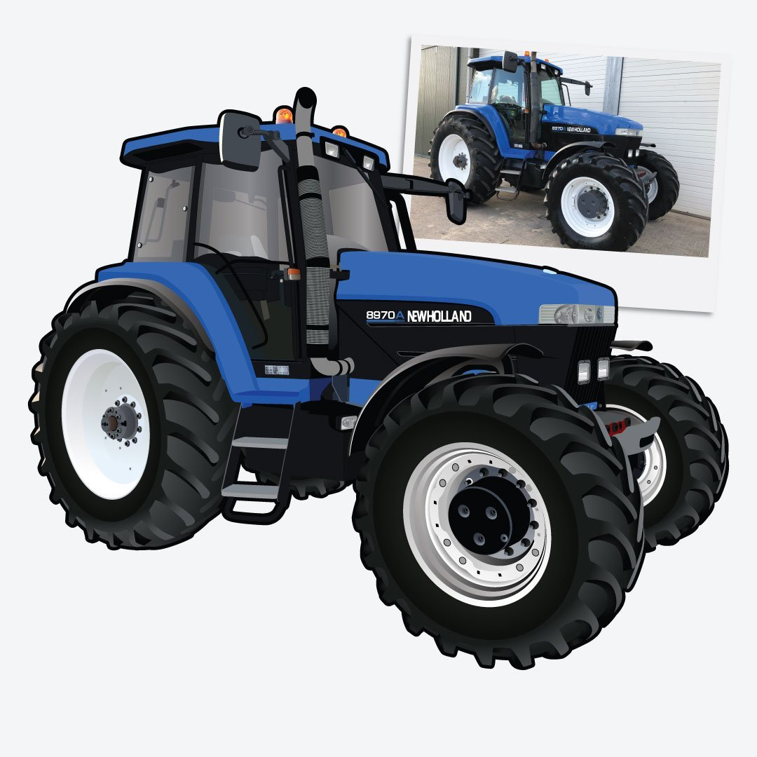 Digital Drawing of New Holland Tractor