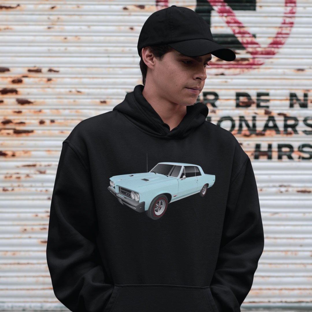 Custom Digital Drawing Hoodie of Muscle Car