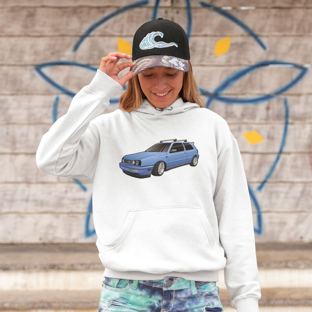 Custom Digital Drawing Hoodie of Volkswagen Golf
