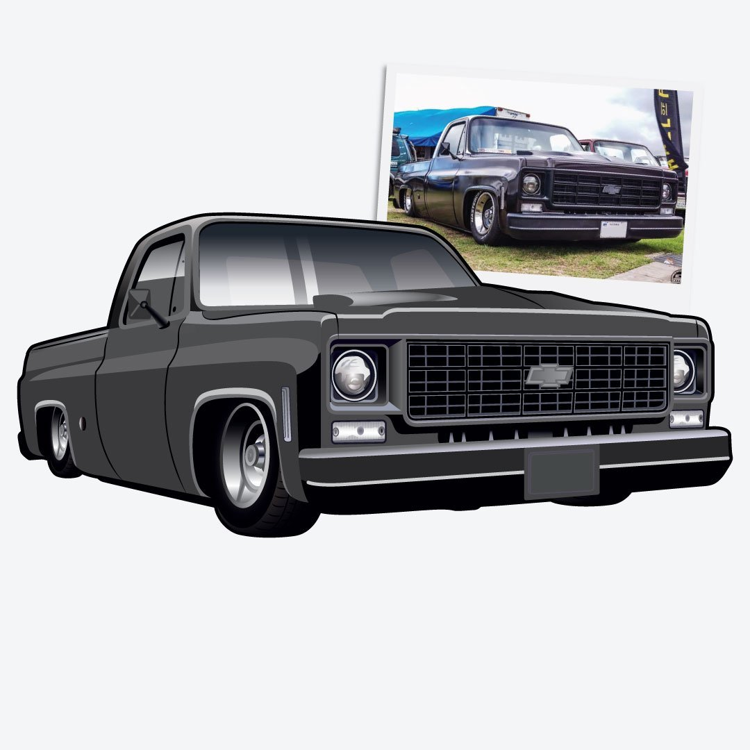 Digital Drawing of Chevy Squarebody