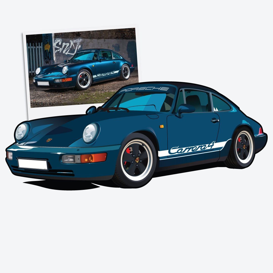 Digital Drawing of Porsche 911