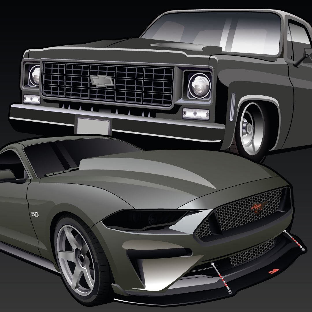 Digital Drawing of Squarebody Pickup and Ford Mustang