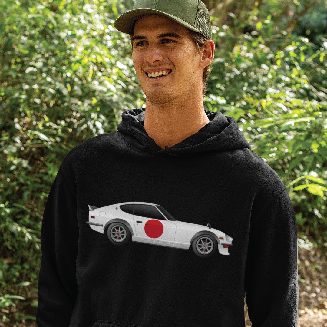 Custom Digital Drawing Hoodie of Nissan 240Z