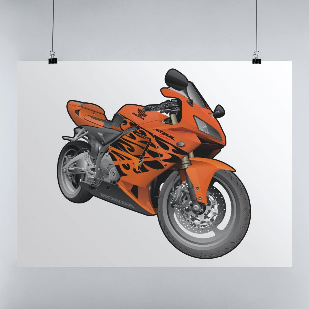 Digital Drawing of Honda CBR1000RR on Poster