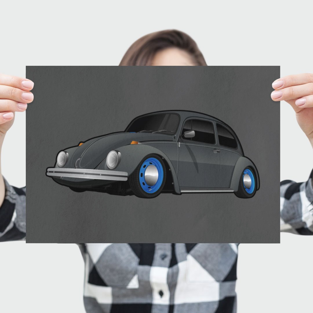 Digital Drawing of Volkswagen Beetle on Poster
